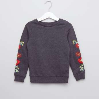 Juniors Embroidered Round Neck Long Sleeves Sweatshirt
