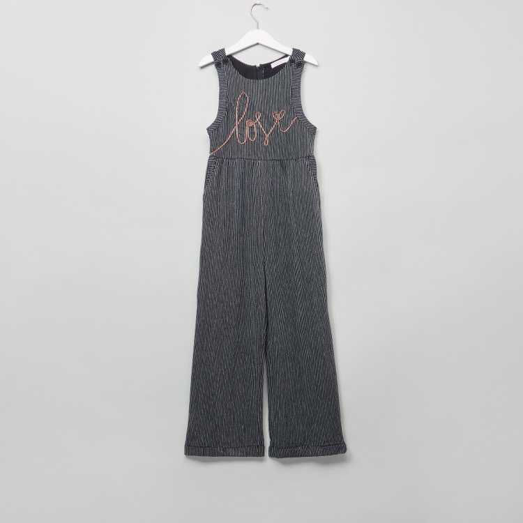 Striped Sleeveless Jumpsuit and Short Sleeves T-Shirt