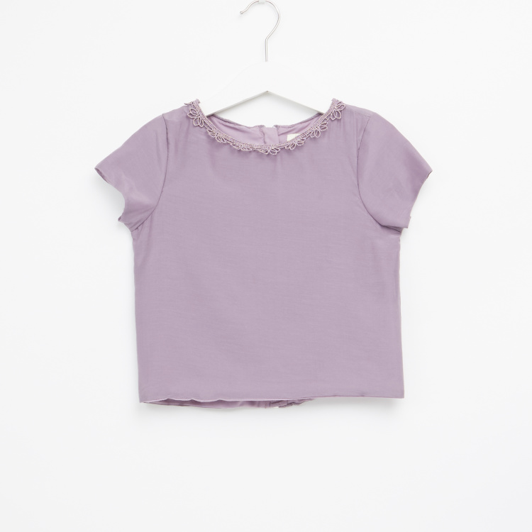 Juniors Lace Detail Round Neck Top