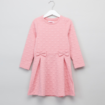Juniors Textured Long Sleeves Bow Detail Dress