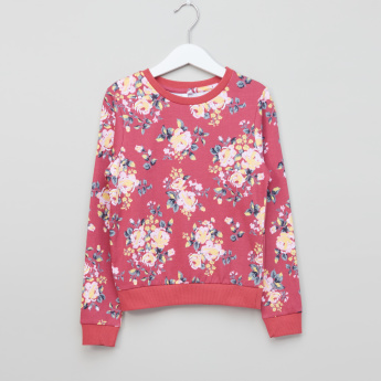 Juniors Printed Round Neck Long Sleeves Sweatshirt