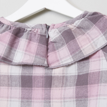 Eligo Ruffle Flannel Check Blouse