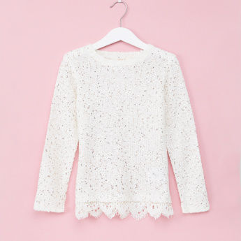 Sequin Detail Long Sleeves Sweater