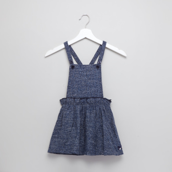 Eligo Ruffle Detail T-Shirt and Textured Pinafore