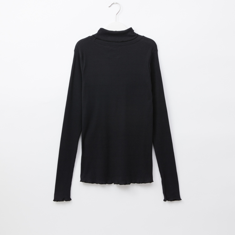 Posh Ribbed Turtleneck Long Sleeves T-Shirt