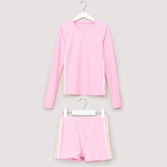 Posh Round Neck Swimming T-Shirt with Tape Detail Shorts