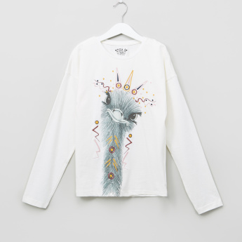Posh Clothing Bird Graphic Printed T-shirt with Long Sleeves