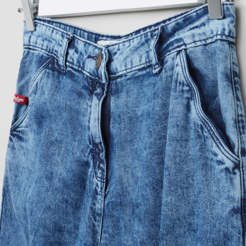 Lee Cooper Textured Denim Pants with Pocket Detail