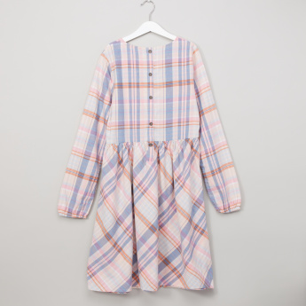 Lee Cooper Chequered Dress with Button Closure and Long Sleeves