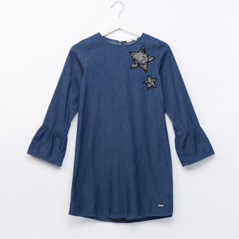 Lee Cooper Sequin Detail Denim Long Sleeves Dress