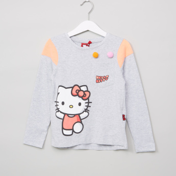 Hello Kitty Printed Pom Pom Detail Long Sleeves Top