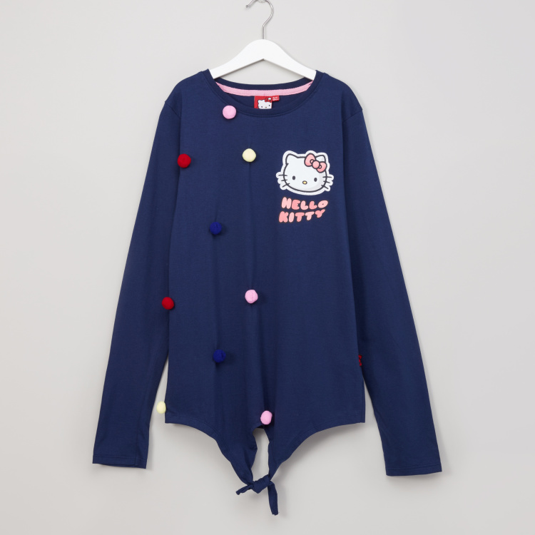 Hello Kitty Pom Pom Detail Long Sleeves Top