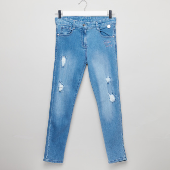 Hello Kitty Distressed Jeans with Button Closure and Pocket Detail