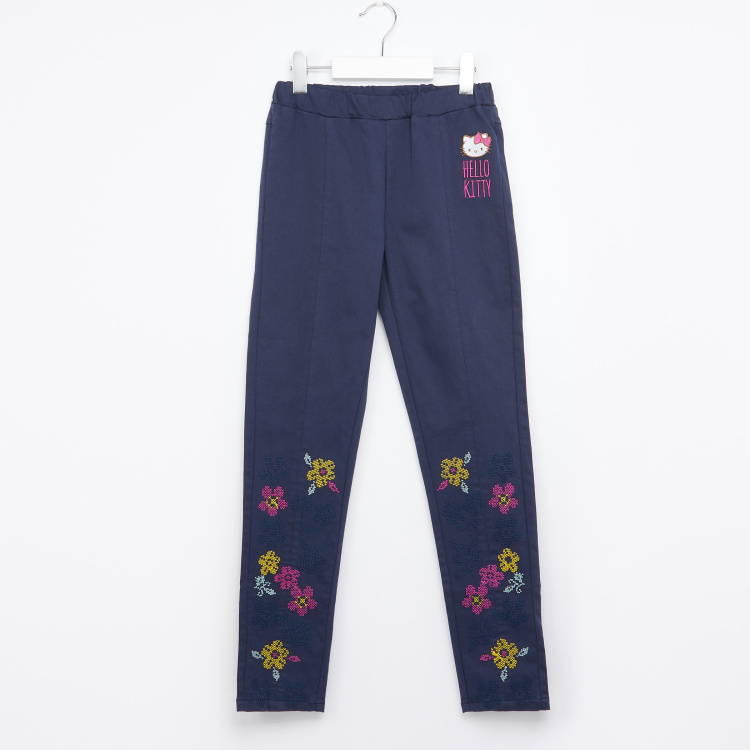 Hello Kitty Embroidered Pants with Elasticised Waistband