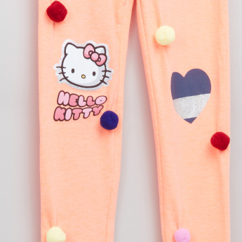 Hello Kitty Printed Leggings with Pom-Pom Detail