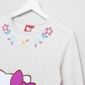 Hello Kitty Embroidered Long Sleeves Pullover