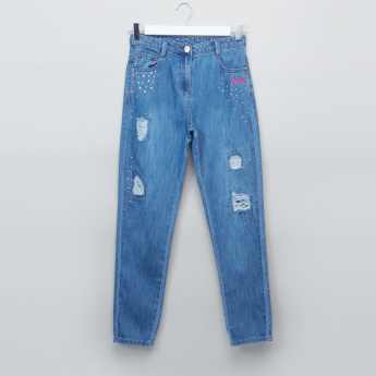Barbie Distressed Jeans with Pocket Detail and Button Closure