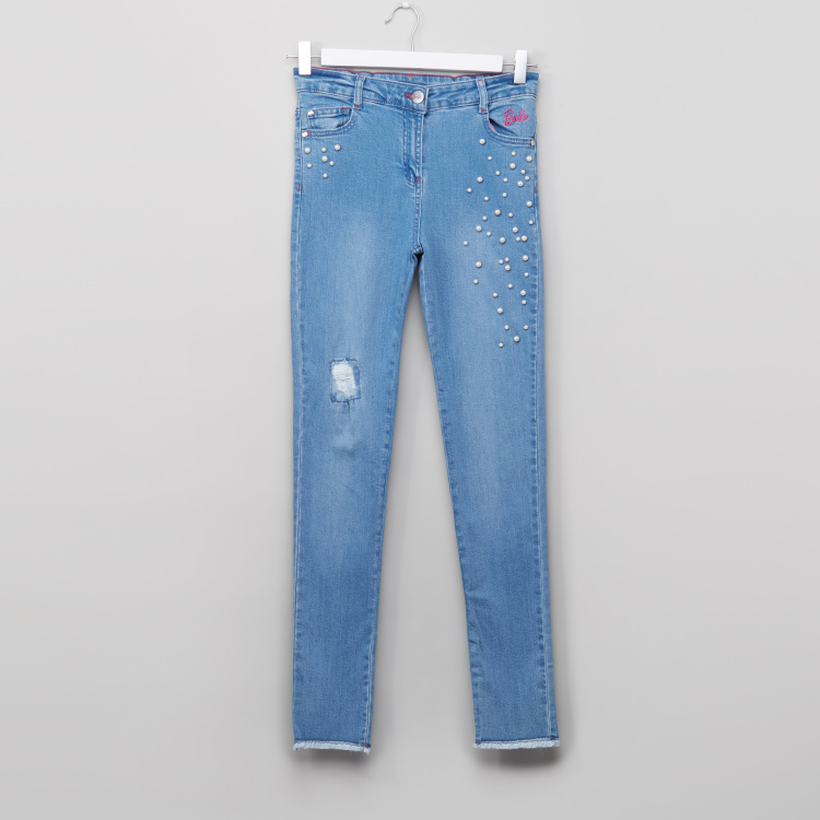 Barbie Skinny Jeans with Pearl Embroidery