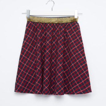 Barbie Embroidered Chequered Skirt with Elasticised Waistband