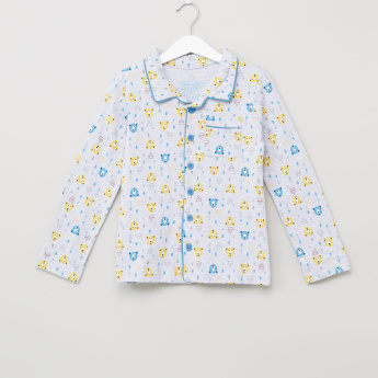 Juniors Bear Printed Long Sleeves Shirt and Pyjama Set