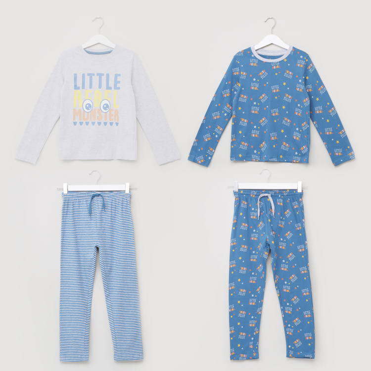 Juniors Printed Long Sleeves T-Shirt and Pyjama Set - Set of 2