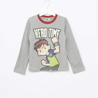 Ben 10 Printed Long Sleeves T-Shirt and Pyjama Set