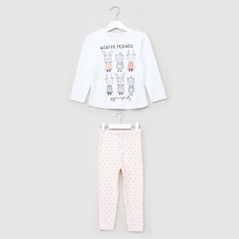 Juniors Printed Long Sleeves T-Shirt with Jog Pants