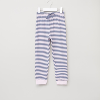 Juniors Printed Long Sleeves T-Shirt with Striped Jog Pants