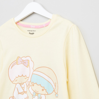 Little Twin Stars Printed Long Sleeves T-Shirt and Pyjama Set
