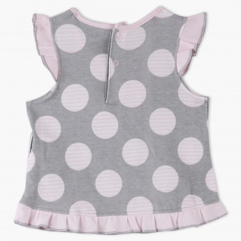 Juniors Polka Dot Printed Dress with Frill Detail