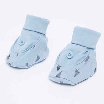 Juniors Printed Booties with Button Applique