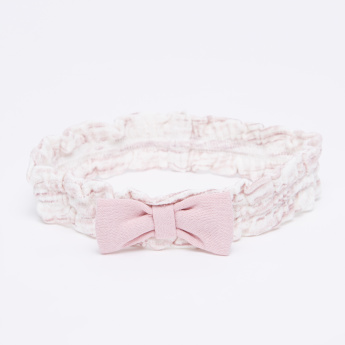 Juniors Printed Headband with Bow Applique