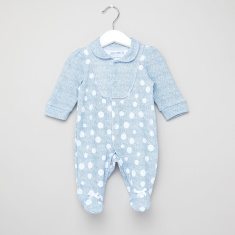 Juniors Polka Dots Print Denim Closed Feet Sleepsuit