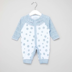 Juniors Polka Dots Print Open Feet Sleepsuit