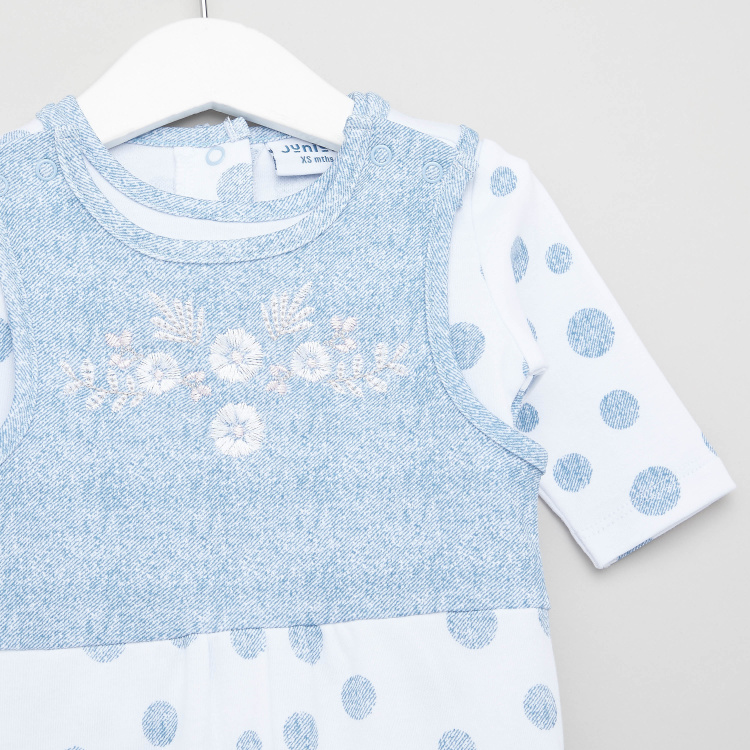 Juniors Dots Print T-shirt and Sleeveless Dungarees Set