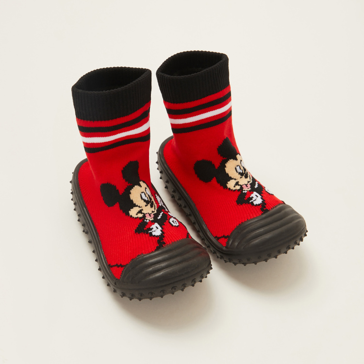 Mickey Mouse Print Sneaker Booties