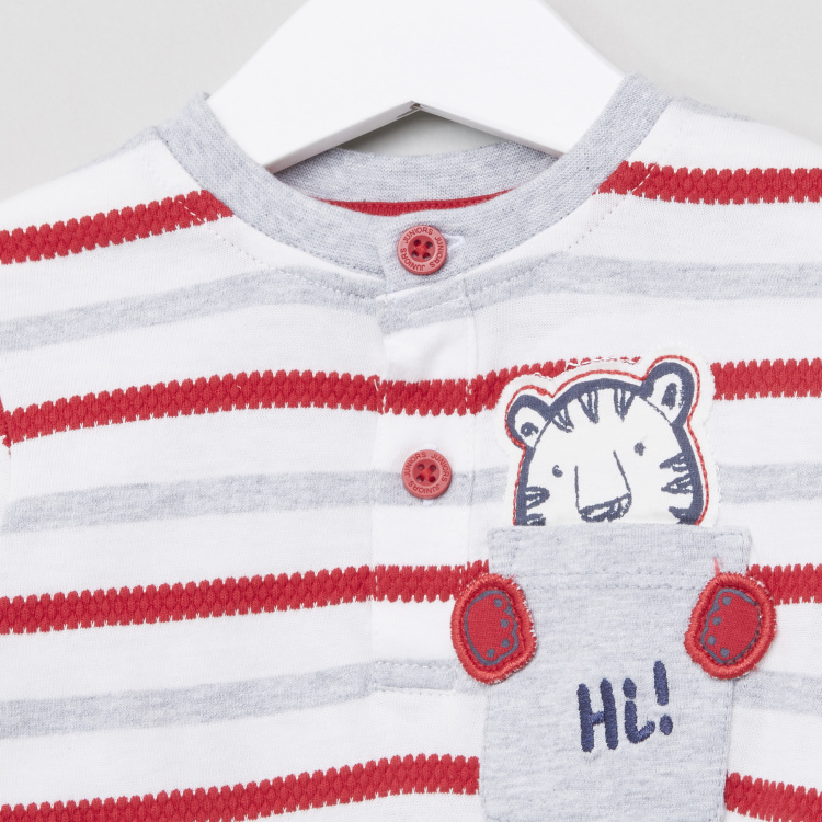 Juniors Striped Henley Neck Long Sleeves T-Shirt