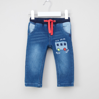 Juniors Embroidered Jeggings with Drawstring and Pocket Detail