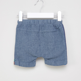 Juniors Textured Applique Detail Shorts with Drawstring