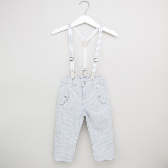 Juniors Striped Pants with Pocket Detail and Suspenders
