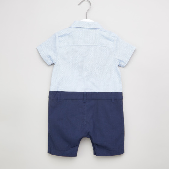 Juniors Bow Detail Romper with Short Sleeves