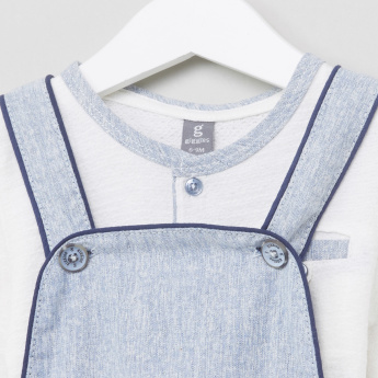 Giggles Henley Neck T-Shirt with Dungarees