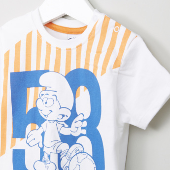 The Smurfs Graphic Printed T-shirt and Shorts Set