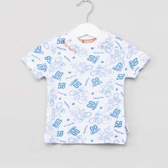 IMPS Smurf Print Round Neck T-shirt and Dungaree Set