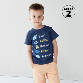 Juniors Graphic Printed Short Sleeves T-shirt - Set of 2
