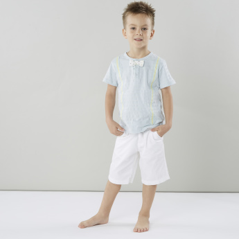 Juniors Round Neck T-shirt with Bow Accent and Suspender Styling