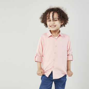 Juniors Ditsy Printed Shirt with Collar and Roll-up Sleeves