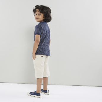 Juniors Solid Shorts with 4-Pockets and Button Closure