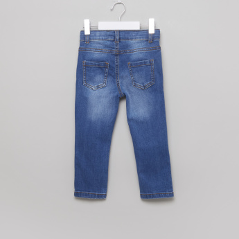 Juniors Distressed Jeans with Embroidered Detail