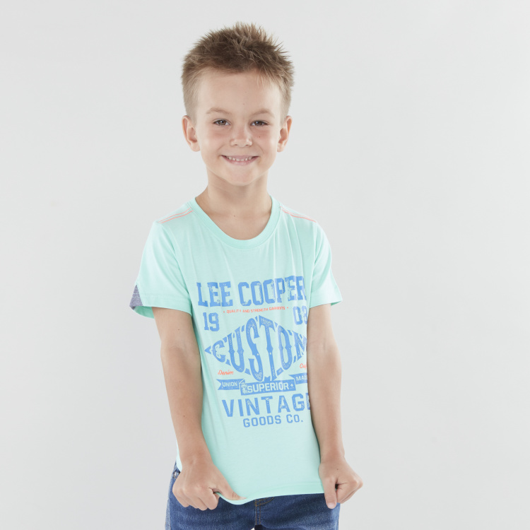 Lee Cooper Graphic Printed T-shirt with Short Sleeves